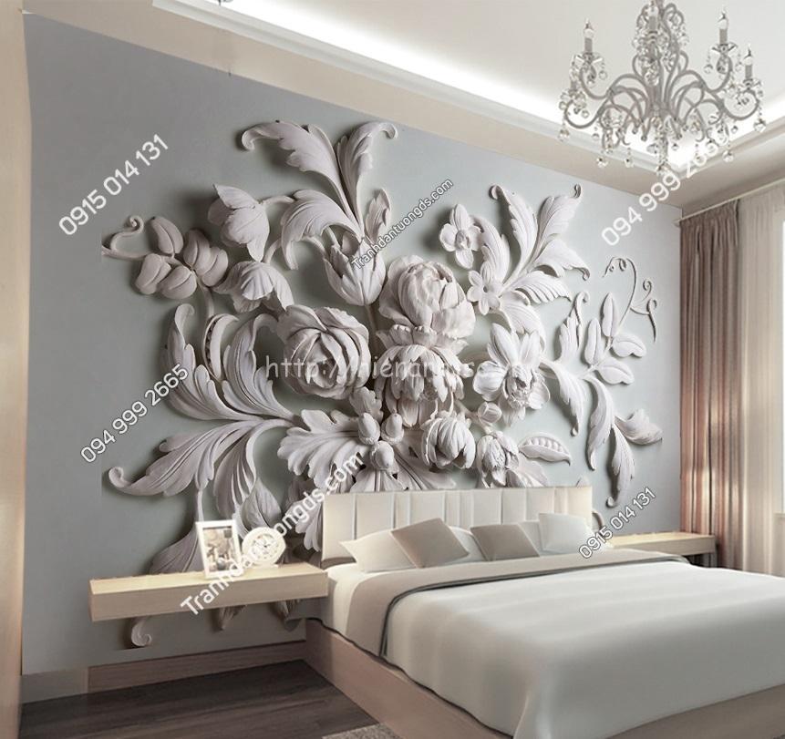 Tranh dán tường 5D hoa nổi dán phòng ngủ