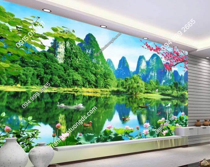 Tranh dán tường 3D phong cảnh sơn thủy hữu tình phòng khách- 5D001