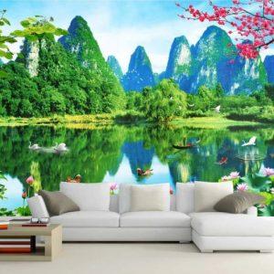 Tranh dán tường 3D sơn thủy đẹp giá rẻ dán phòng khách
