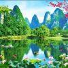 Tranh dán tường 3D phong cảnh sơn thủy hữu tình - 5D001