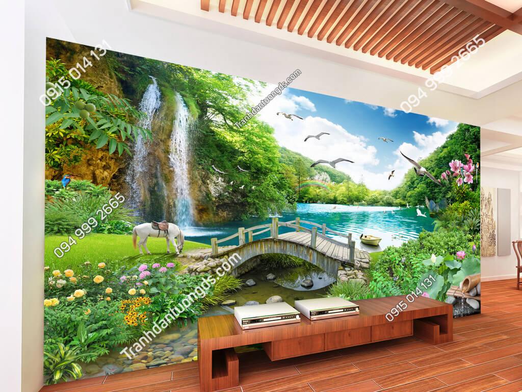 Tranh dán tường phong cảnh thác nước cây cầu thần tiên dán phòng khách