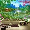Tranh dán tường phong cảnh ao sen đồng quê dán sau sofa - 5D002