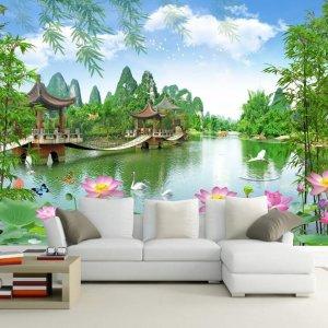 Tranh dán tường phong cảnh ao sen cây cầu dán phòng khách sau sofa - 5D005