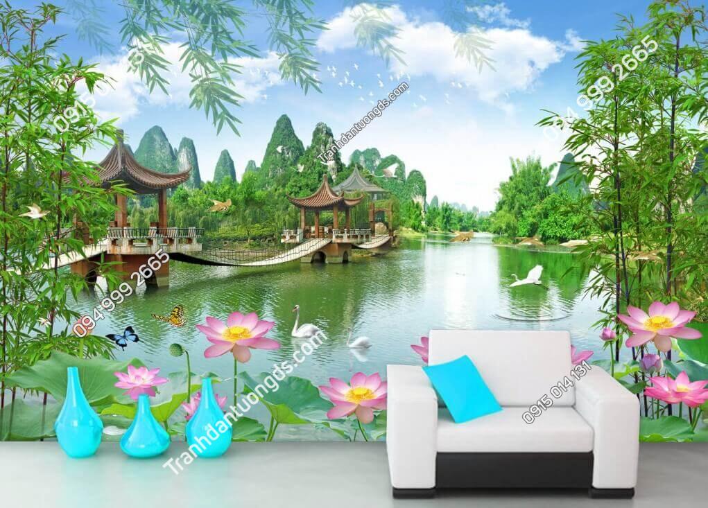 Tranh dán tường phong cảnh ao sen cây cầu dán phòng khách - 5D005