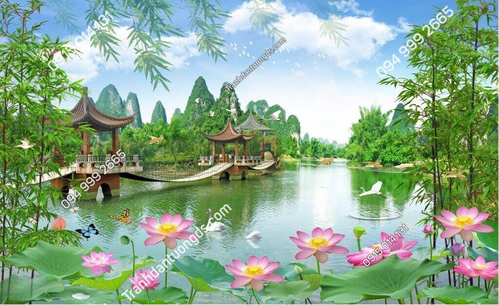 Tranh dán tường phong cảnh ao sen cây cầu - 5D005