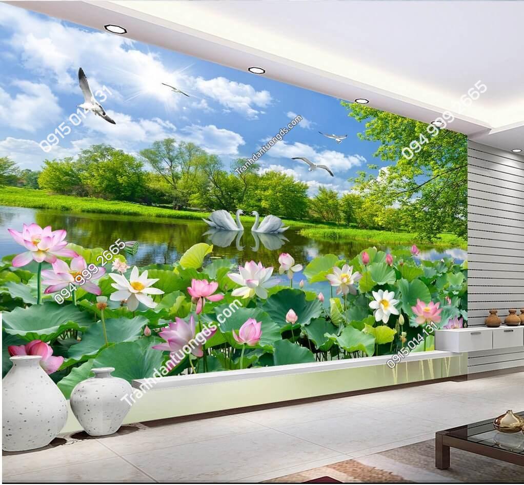 Tranh dán tường 3D ao sen đồng quê yên bình - 5D003