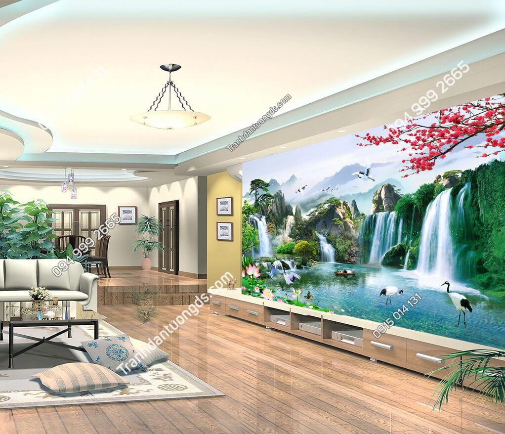 Tranh dán tường phong cảnh sông núi hữu tình dán phòng khách - 5D006