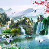 Tranh dán tường phong cảnh sông núi hữu tình - 5D006