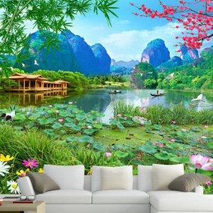 Tranh dán tường phong cảnh ao sen đồng quê dán phòng khách - 5D002