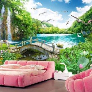 Tranh phong cảnh thác nước cây cầu dán phòng ngủ - 5D004