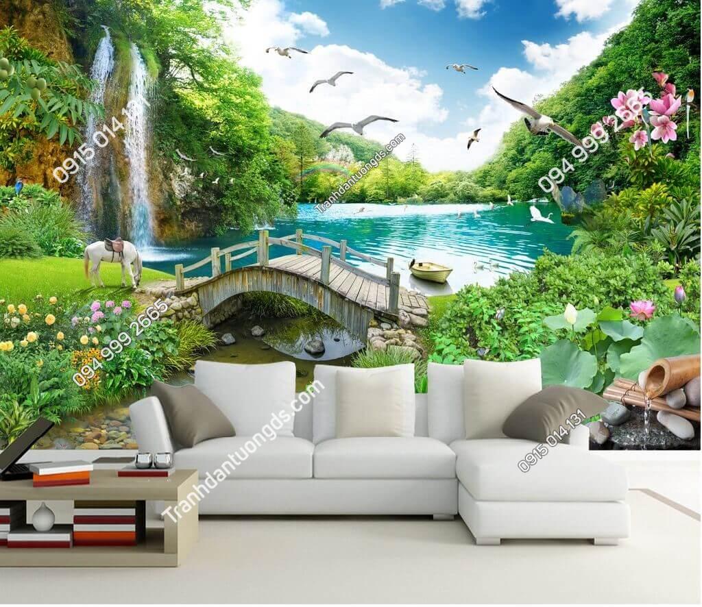 Tranh cây cầu thác nước rừng cây thần tiên dán sau sofa phòng khách - 5D004