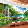 Tranh cây cầu thác nước rừng cây thần tiên dán sau kệ tivi phòng khách - 5D004