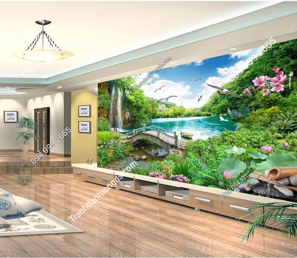 Tranh cây cầu thác nước rừng cây thần tiên dán phòng khách đẹp - 5D004