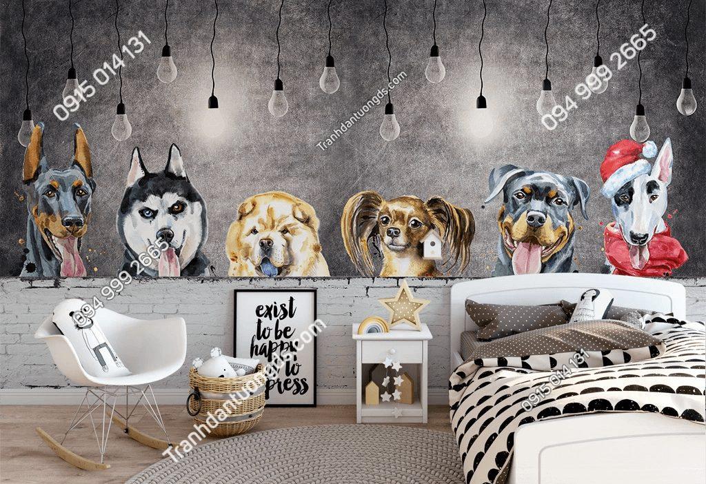 Tranh dán tường đàn chó cảnh đáng yêu 5D035 dán phòng ngủ trẻ em