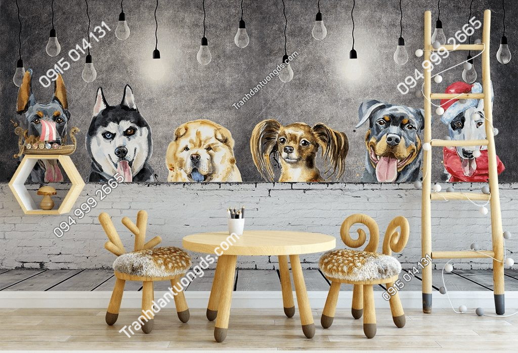 Tranh dán tường đàn chó cảnh đáng yêu 5D035 dán quán cafe