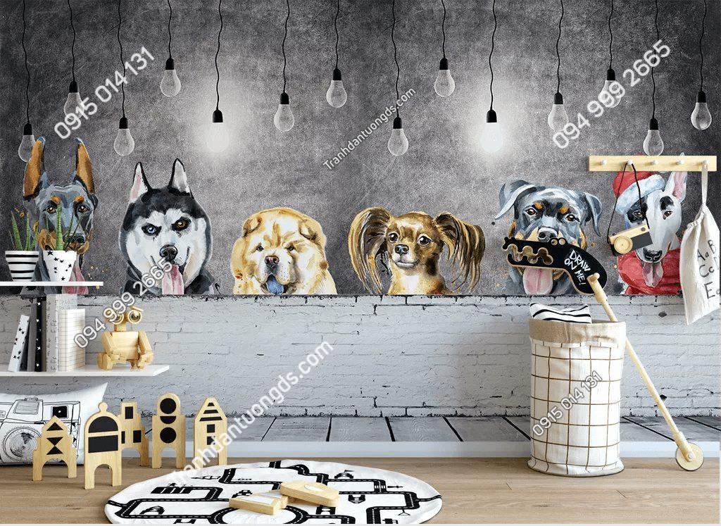 Tranh dán tường đàn chó cảnh đáng yêu 5D035
