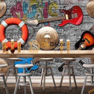 Tranh dán tường đàn phao quán cafe 5D039