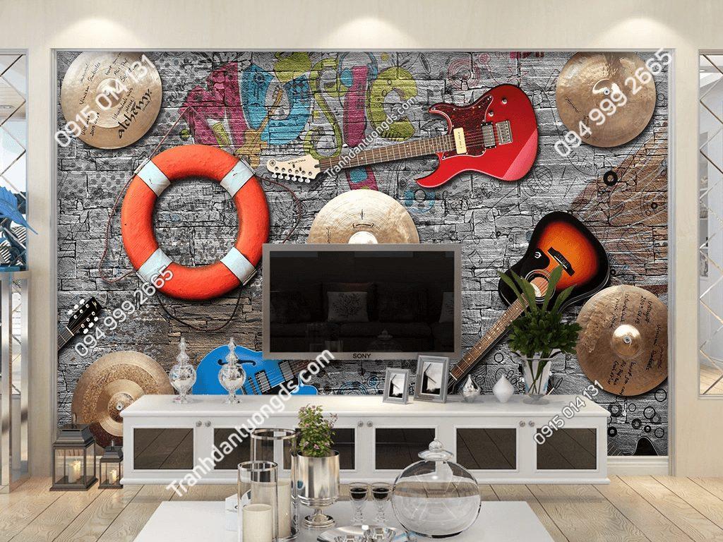 Tranh dán tường đàn phao quán cafe 5D039 dán phòng khách