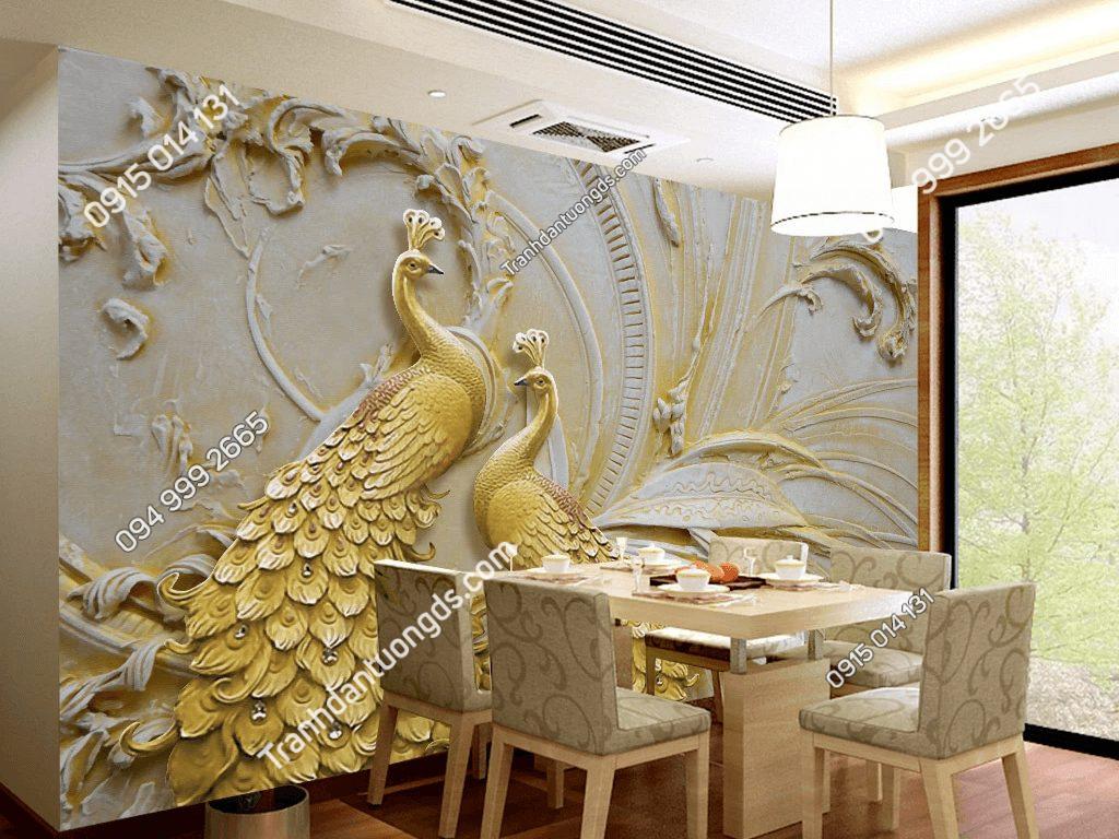 Tranh dán tường đôi công vàng 5D033 dán phòng ăn