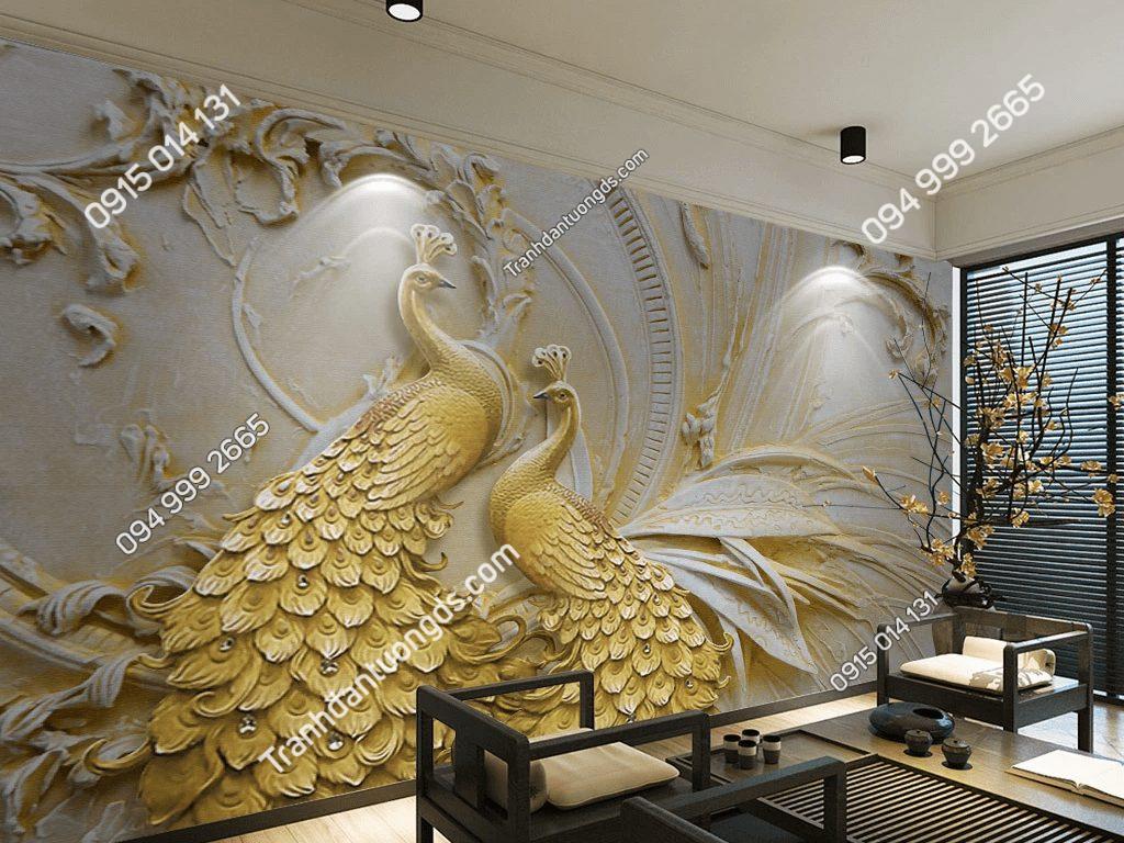 Tranh dán tường đôi công vàng 5D033 dán phòng khách