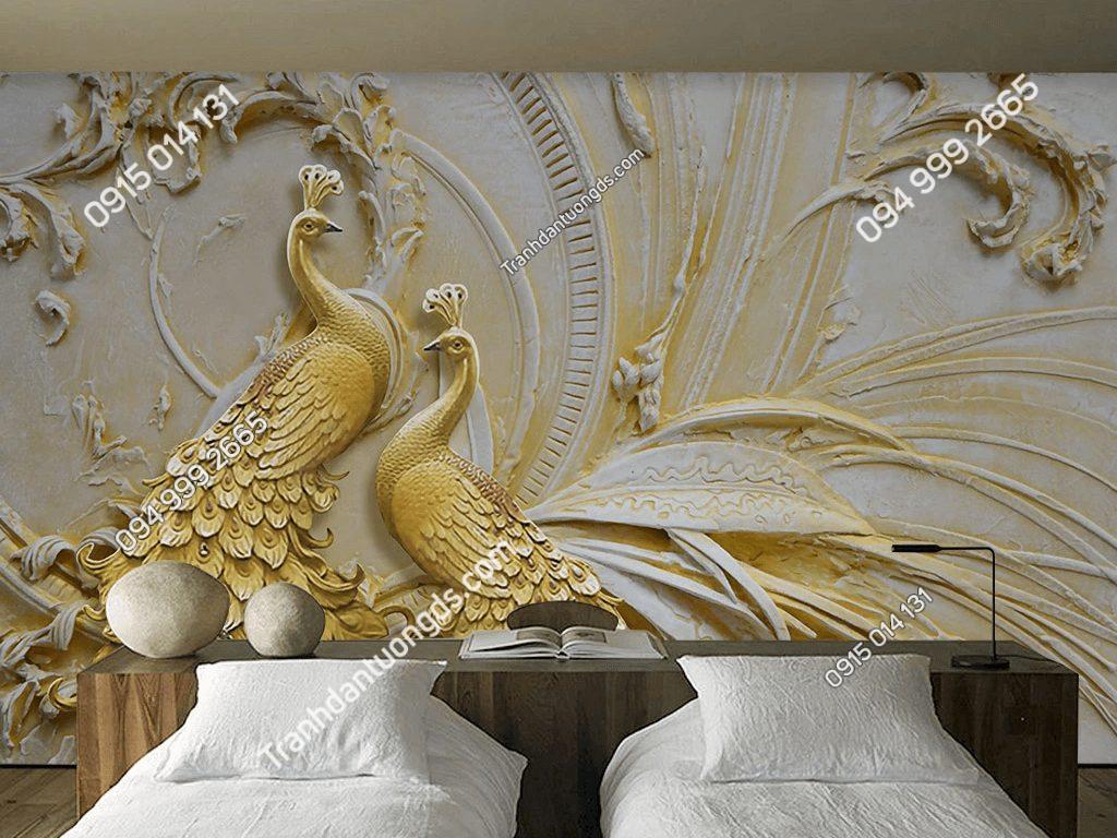 Tranh dán tường đôi công vàng 5D033 dán phòng ngủ