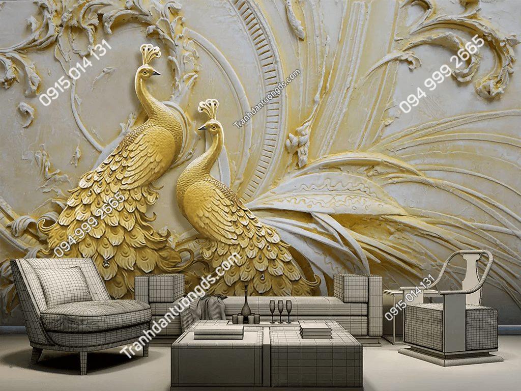 Tranh dán tường đôi công vàng 5D033