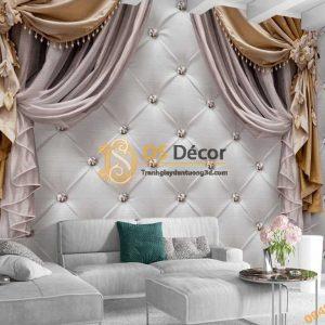 Tranh dán tường giả rèm 5D038 phòng khách