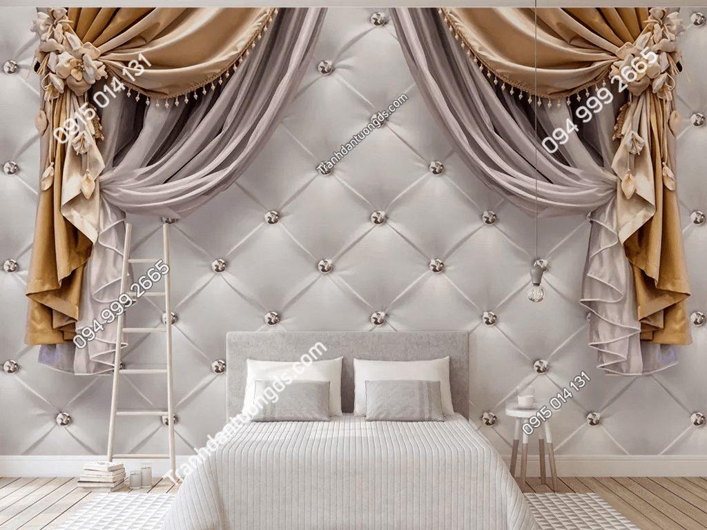 Tranh dán tường giả rèm 5D038 phòng ngủ