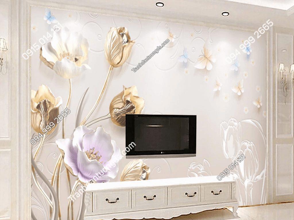 Tranh dán tường hoa giả ngọc 5D036 sau tivi