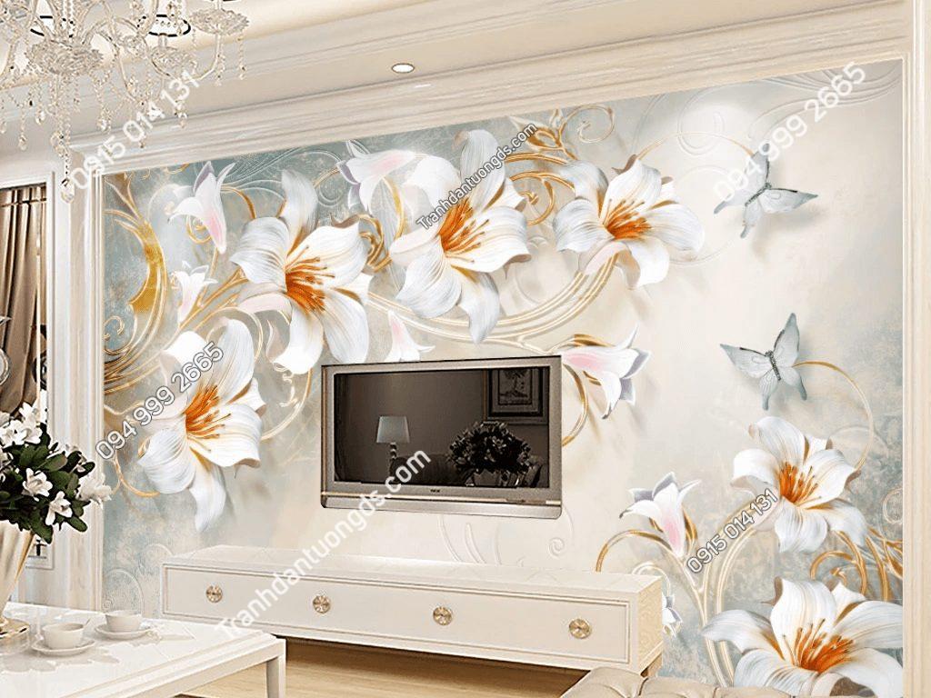 Tranh dán tường hoa ly 5D037 dán phòng khách