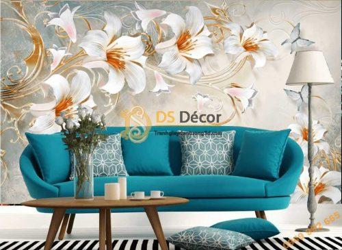 Tranh dán tường hoa ly 5D037 dán sau sofa