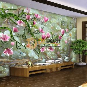 Tranh dán tường hoa mộc lan cẩm thạch 5D030 phòng khách