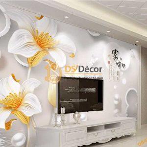 Tranh dán tường hoa ngọc trai 5D041 phòng khách ngiêng