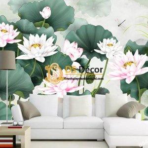 Tranh dán tường hoa sen 5D007 phòng khách