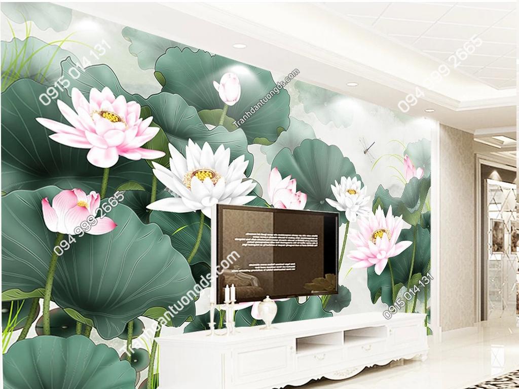 Tranh dán tường hoa sen 5D007 phòng khách dep