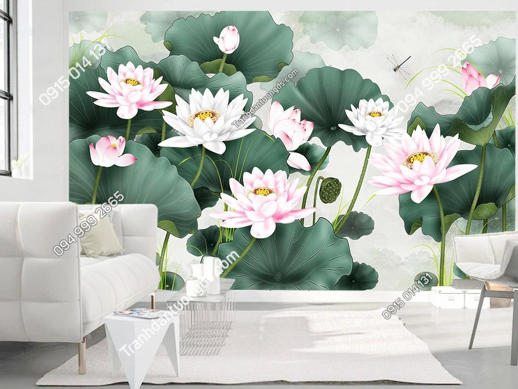 Tranh dán tường hoa sen 5D007 phòng khách sang trong