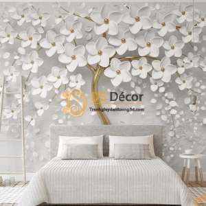 Tranh dán tường hoa trắng 3D nổi 5D031 phòng cưới