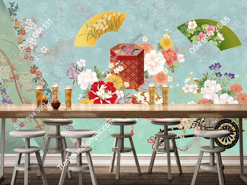Tranh dán tường phong cách Nhật 5D040 dán quán cafe