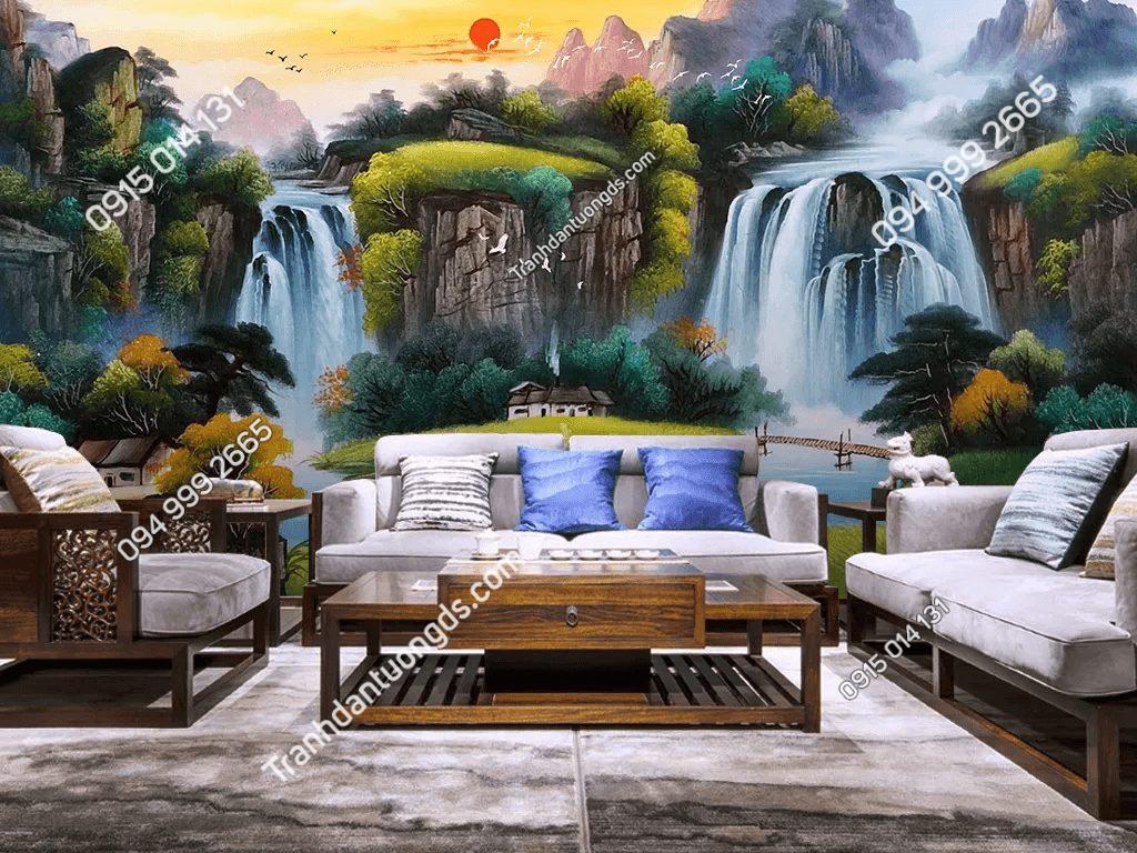 Tranh dán tường sơn thủy 5D034 phong cách sơn dầu