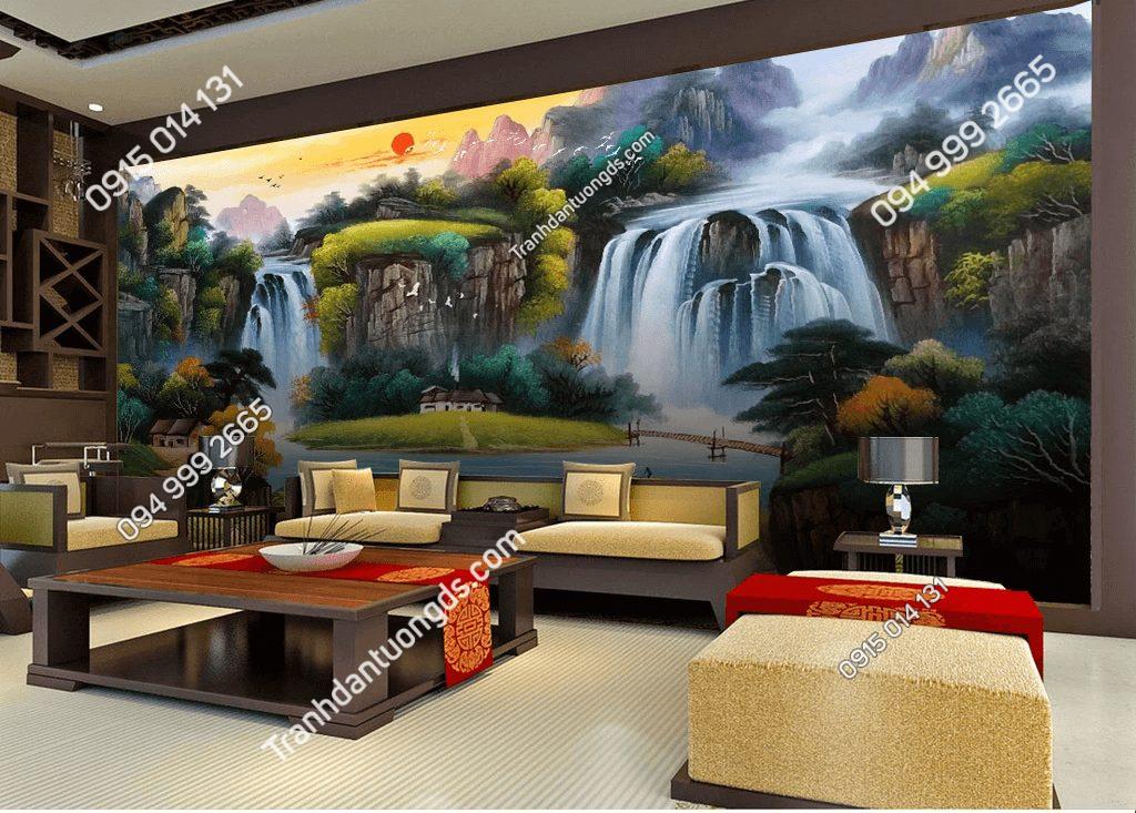 Tranh dán tường sơn thủy 5D034 trang trí phòng khách