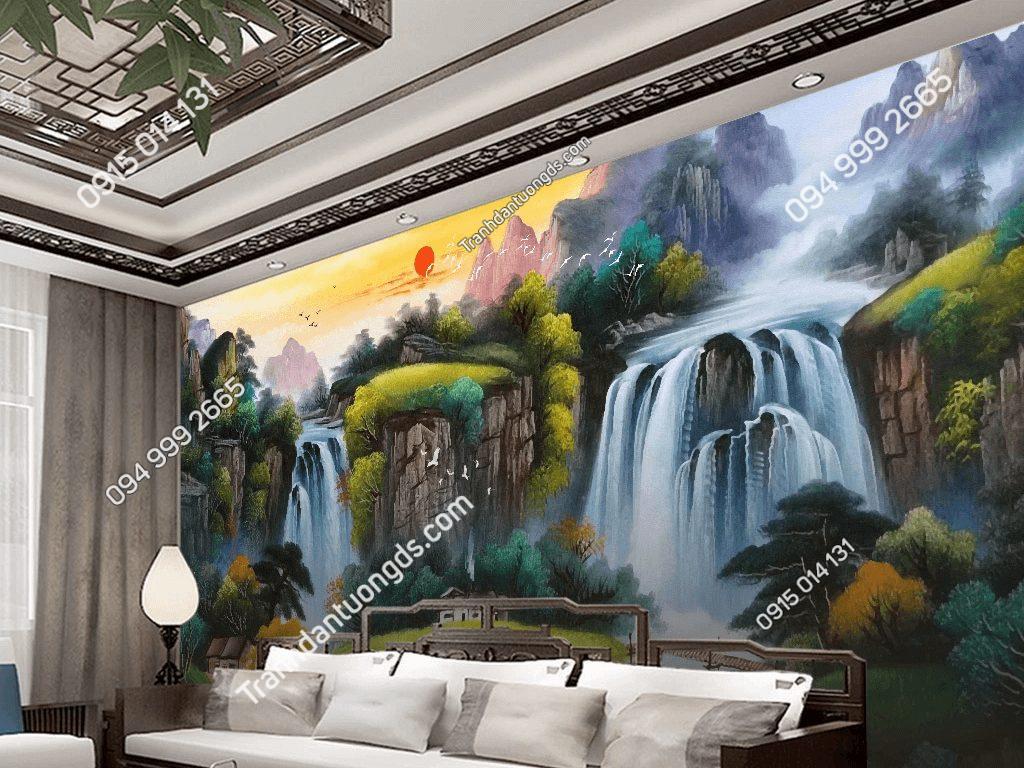 Tranh dán tường sơn thủy 5D034