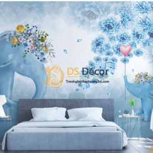Tranh dán tường voi 5D029 phòng ngủ của bé