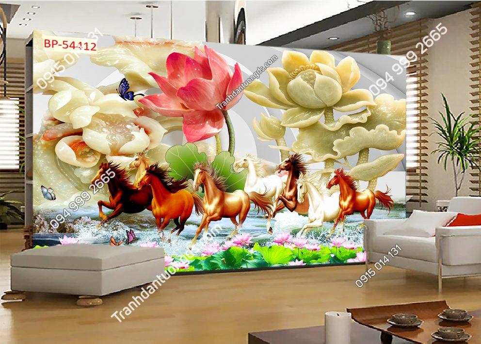Tranh dán tường bát mã hoa giả ngọc 54412