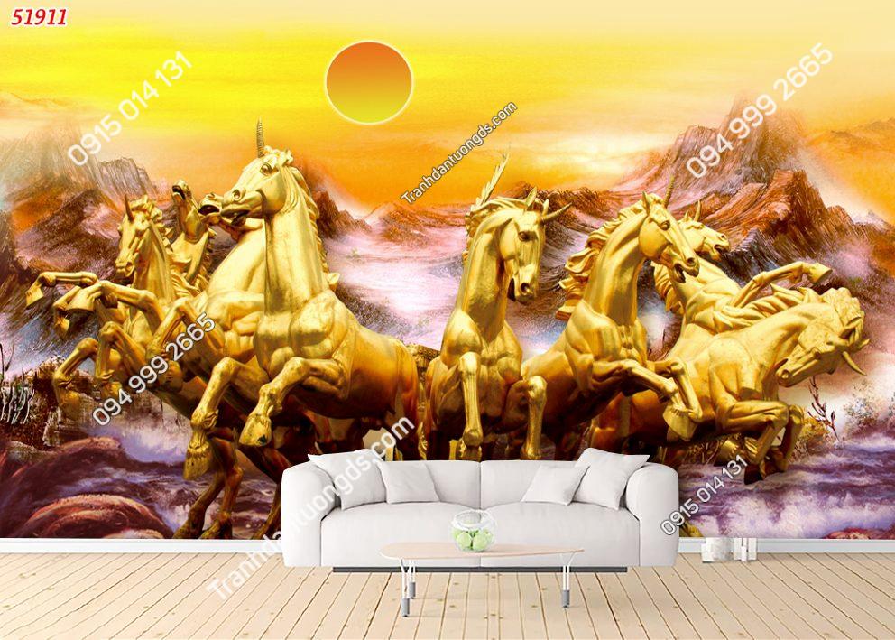 Tranh dán tường bát mã vàng 51911