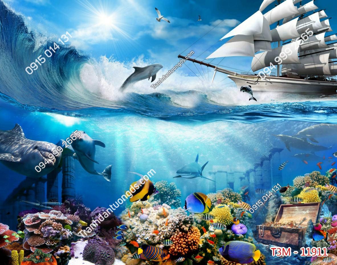 Tranh dán tường cá heo - 11911 demo