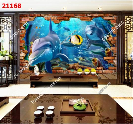 Tranh dán tường cá heo - 21168 demo