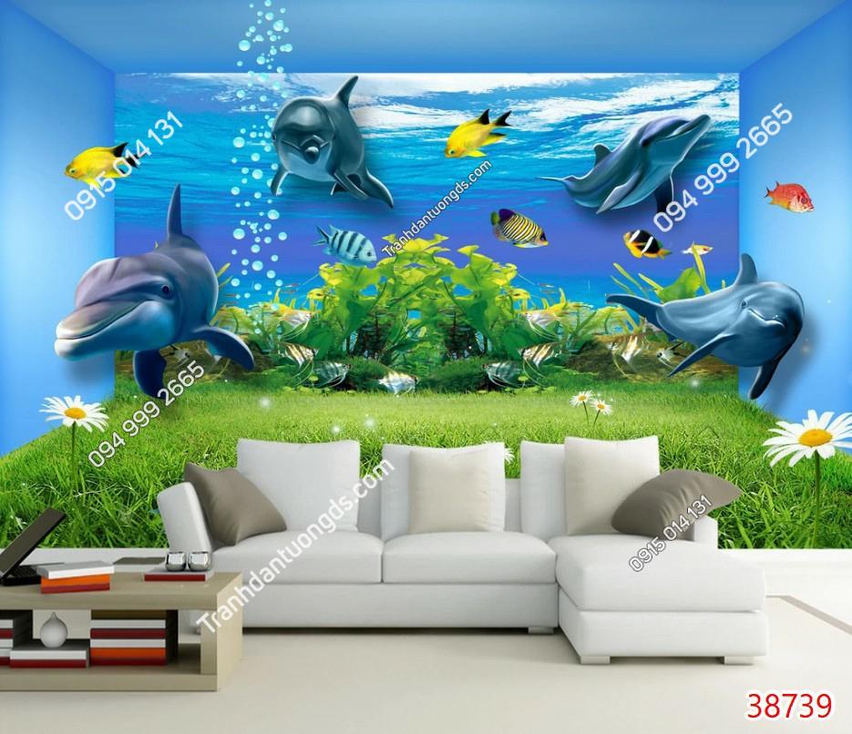 Tranh dán tường cá heo 38739