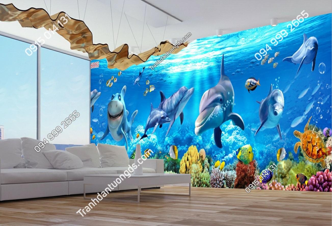 Tranh dán tường cá heo phòng khách 60093