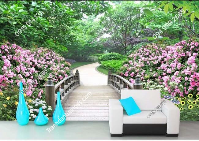 Tranh dan tuong con duong hoa 5D009 phong khach