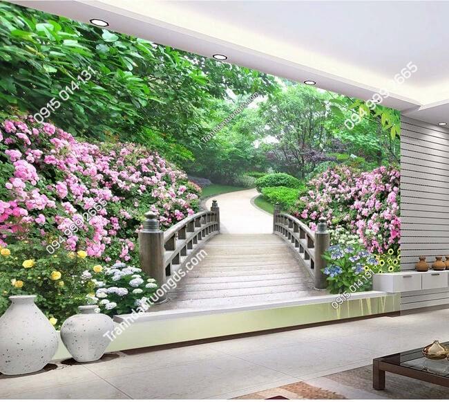 Tranh dan tuong con duong hoa hong va cay 5D009 phong khach